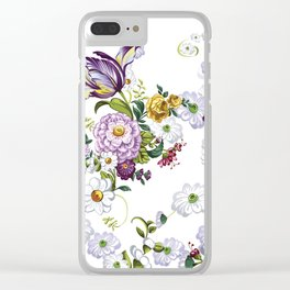 Purple Flowers V Clear iPhone Case