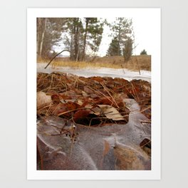 #406 BR CK UNDER ICE FORMATIONS,  POND CRK BEFORE 1931 WOOD, ROCKS, ICE  Art Print