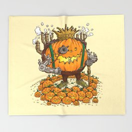The Steampunk Pumpking Throw Blanket
