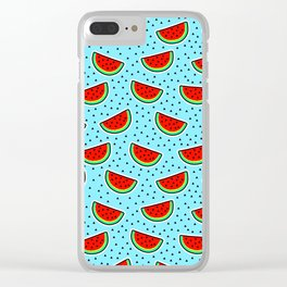 Watermelon on blue Clear iPhone Case