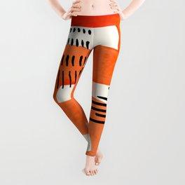 Mid Century Modern abstract Minimalist Fun Colorful Shapes Patterns Orange Watercolor Wiggle Stroke Leggings