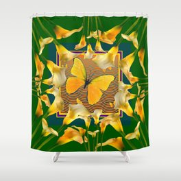Green Garden Calla Lilies Yellow Butterfly Shower Curtain