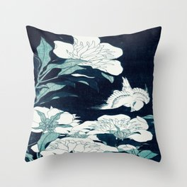 JAPANESE FLOWERS Midnight Blue Teal Throw Pillow