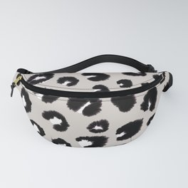 Cheetah Black White Beige Fanny Pack