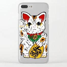 Melting Maneki Neko Lucky Cat Clear iPhone Case