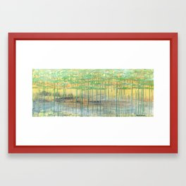 Golden & Grounded mixed media abstract landscape Framed Art Print
