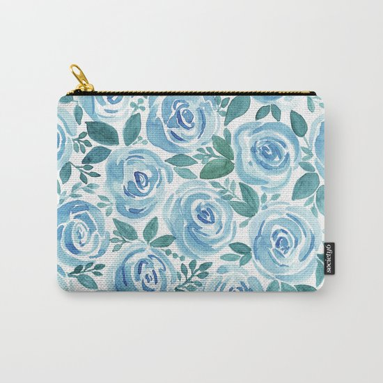 Pale blue roses . Watercolor . Carry-All Pouch