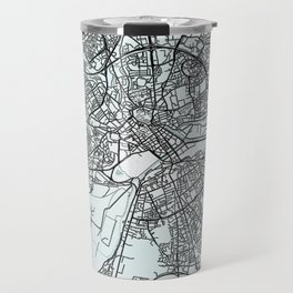 Caen, France, White, City, Map Travel Mug
