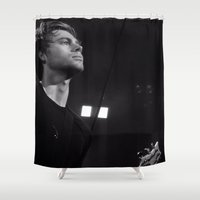 luke hemmings Shower Curtains featuring L HEMMINGS CLEVELAND by Halle