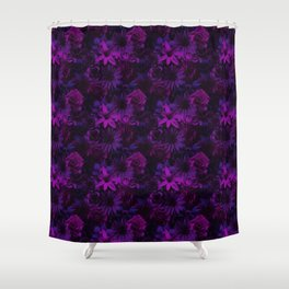 Mystical Moon Night Flowery - Enchanted Flowers Shower Curtain