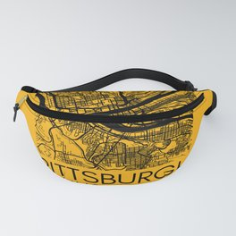 Pittsburgh Pennsylvania Steel City Map 412 Home Vintage Print Fanny Pack