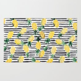 fresh pineapples on stripes watercolor Rug