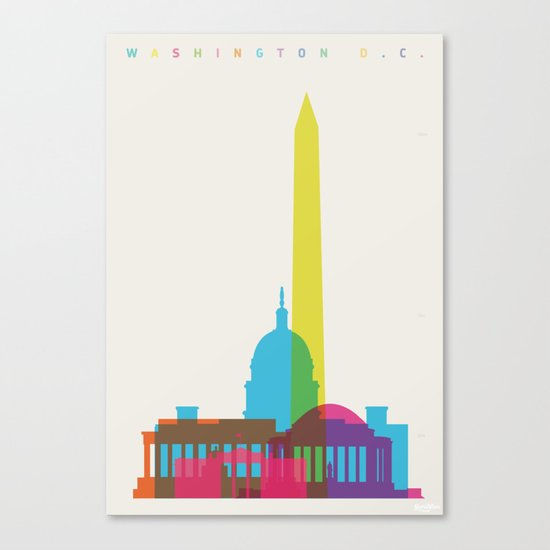 Shapes of Washington D.C. Accurate to scale Canvas Print