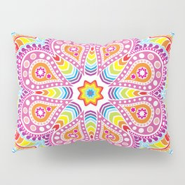 rastafarian mandala in rainbow colors on white Pillow Sham