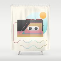 edm Shower Curtains featuring Summer Rhythm by Moremo