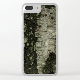 Birch Bark With Moss Clear iPhone Case