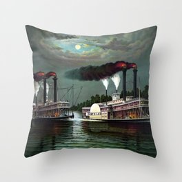 Race Of The Steamers Robert E. Lee and Natchez Throw Pillow