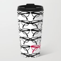 Optometrist Eye Glasses Black Pattern Print Metal Travel Mug