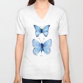 Two Blue Butterflies Watercolor Unisex V-Ausschnitt