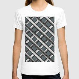 PPG Night Watch, Black & White Diagonal Stripes Lattice Pattern T-shirt