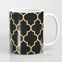 Black Gold Quattrefoil Coffee Mug