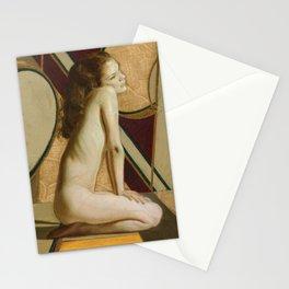 Female Nude Figure Art Nouveau Painting Modern Geometric Minimalist Red Yellow Gray Stationery Cards