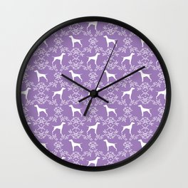 Vizsla dog breed minimal pattern floral lavender lilac dog gifts vizlas breed Wall Clock