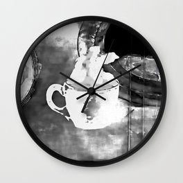 cup of coffee on acousic guitar Wall Clock