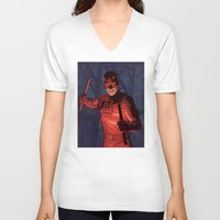 daredevil V-neck T-shirts featuring Daredevil by Arne AKA Ratscape