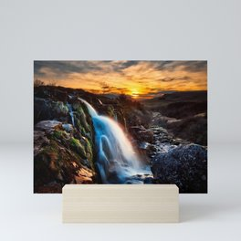 Scotland waterfalls river sunset HDR UK Mini Art Print