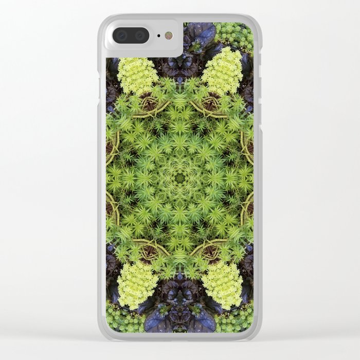 Filigree Foliage Kaleidoscope Clear iPhone Case