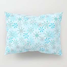 Christmas, Snow Flurries in Light Blue Pillow Sham