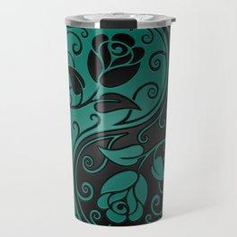 Teal Blue and Black Yin Yang Roses Travel Mug
