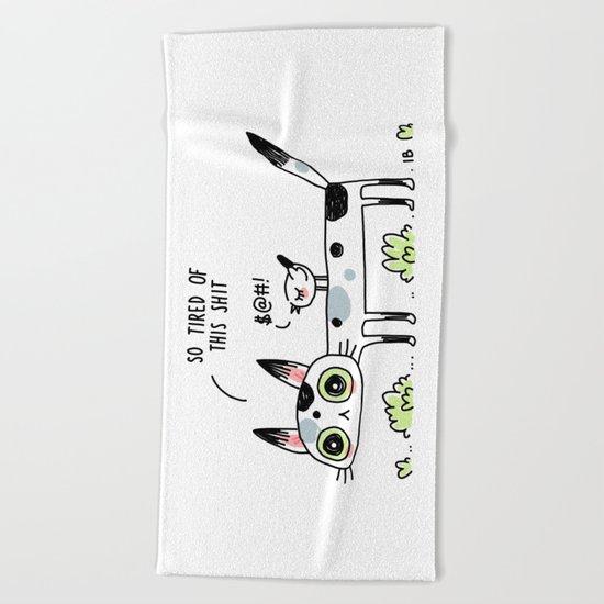 Annoyed Cat Beach Towel