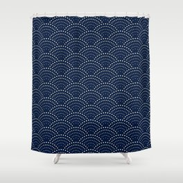 Japanese Blue Wave Seigaiha Indigo Super Moon Pattern Shower Curtain