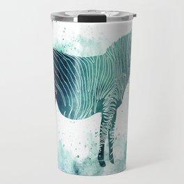 Zebra Watercolor Silhouette Animal Travel Mug