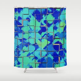 Abstract Squares Blue & Green Shower Curtain