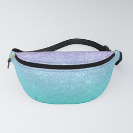 Modern mermaid lavender glitter turquoise ombre pattern Fanny Pack