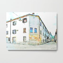 Fognano: building and glimpse of a street Metal Print