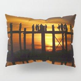 Sunset at U Bein Bridge, Myanmar Pillow Sham