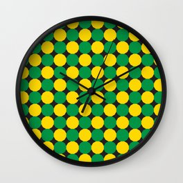 Green and Yellow Dodecagons Wall Clock