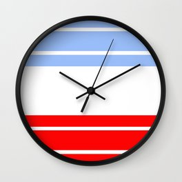 TEAM COLORS 9...Red,light blue, white Wall Clock