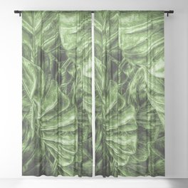 Painted Green Monstera palm leaves by Brian Vegas Sheer Curtain
