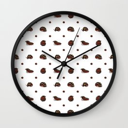 Roly Poly Party! Clown/Montenegro on White Wall Clock