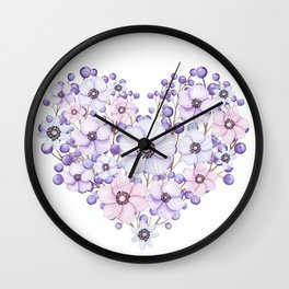 Violet and Pink Floral Heart Wall Clock