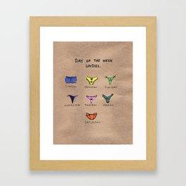 DAY OF THE WEEK UNDIES. Framed Art Print