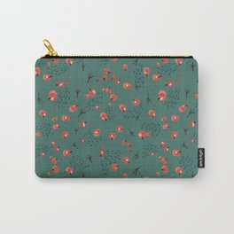 Seamless pattern with red berries and bird tracks on a dark turquoise background. New Year theme. Carry-All Pouch