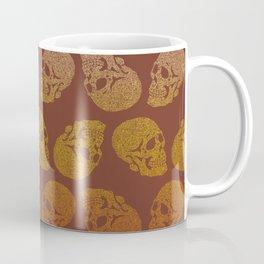 Skull doodle pattern - darker 70s gradient palette - trippy seventies art Coffee Mug
