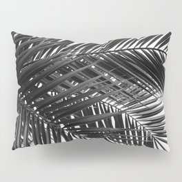 Tropical Palm Leaves - Black and White Nature Photography Pillow Sham