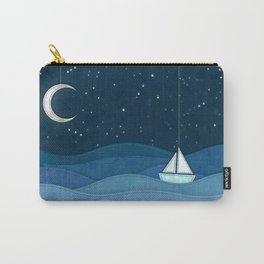 The Night Ocean Parade. Nautical Yacht Starry Night Digital Fabric Illustration. Carry-All Pouch
